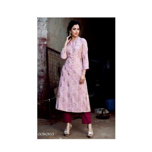 Aakara Gold Foil Kurti With Bottom