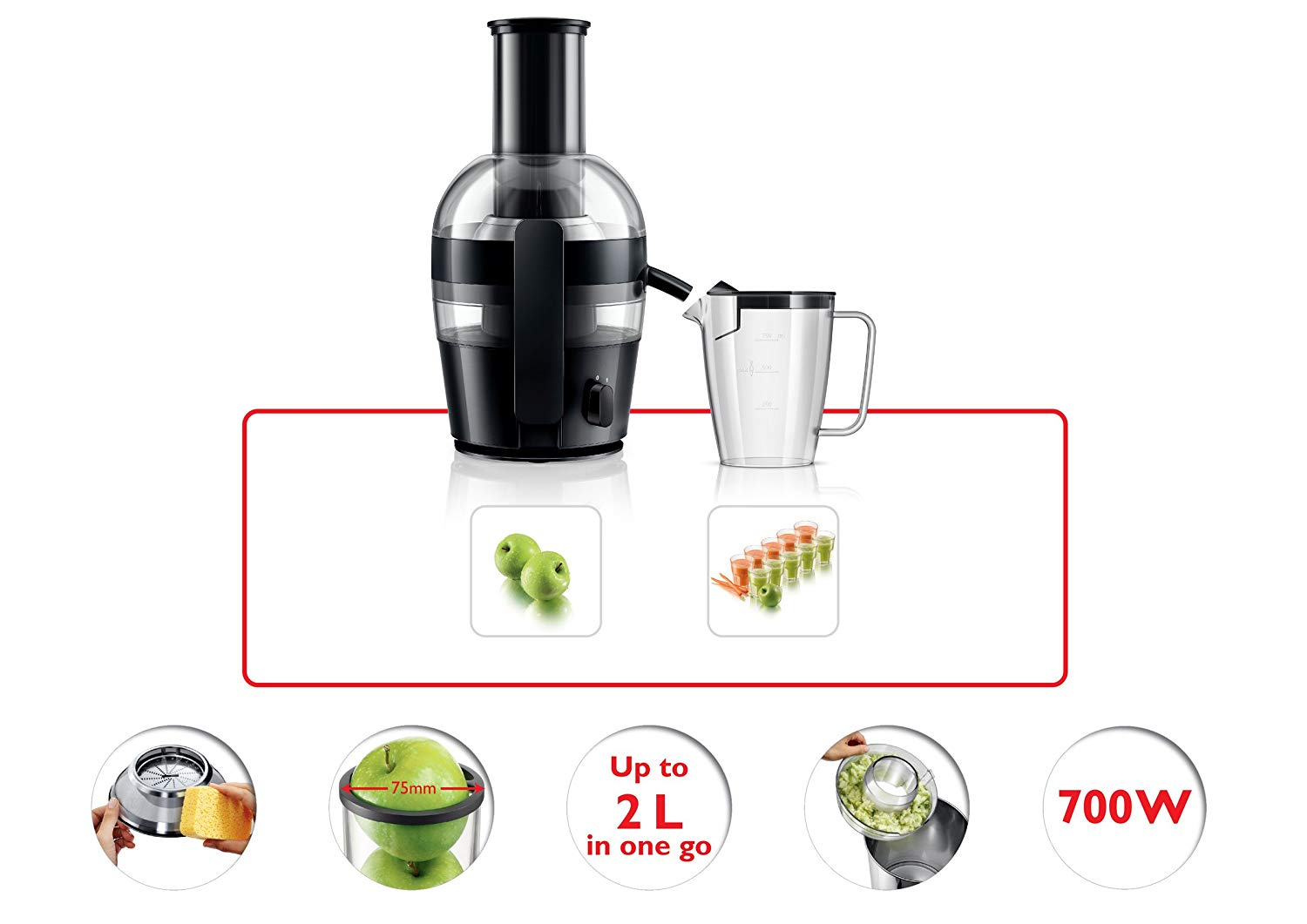 Philips hr63 (HR1863) WATT 700 Juicer(Black, 1 Jar)